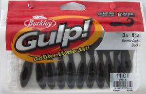 """20//Ct Pack BERKLEY GULP 2/"""" Minnow Grub - Fluorescent Orange"""