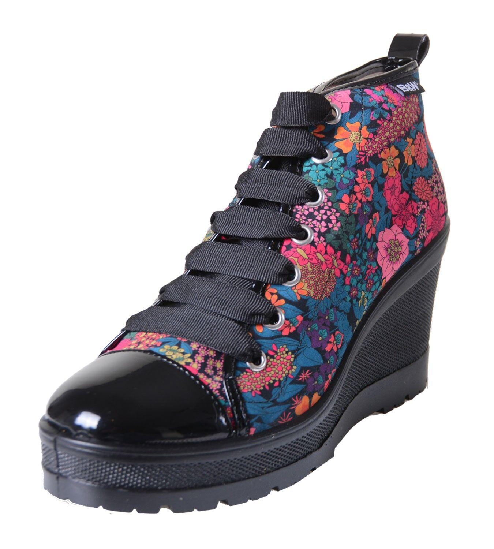 Break & Walk Sneaker Plateausohle mit Keilabsatz und schwarzer Plateausohle Sneaker Blumenmuster B&W d64f39