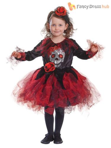 Age 4-9 Boys Girls Day of The Dead Skeleton Fancy Dress Costume Kids  Halloween
