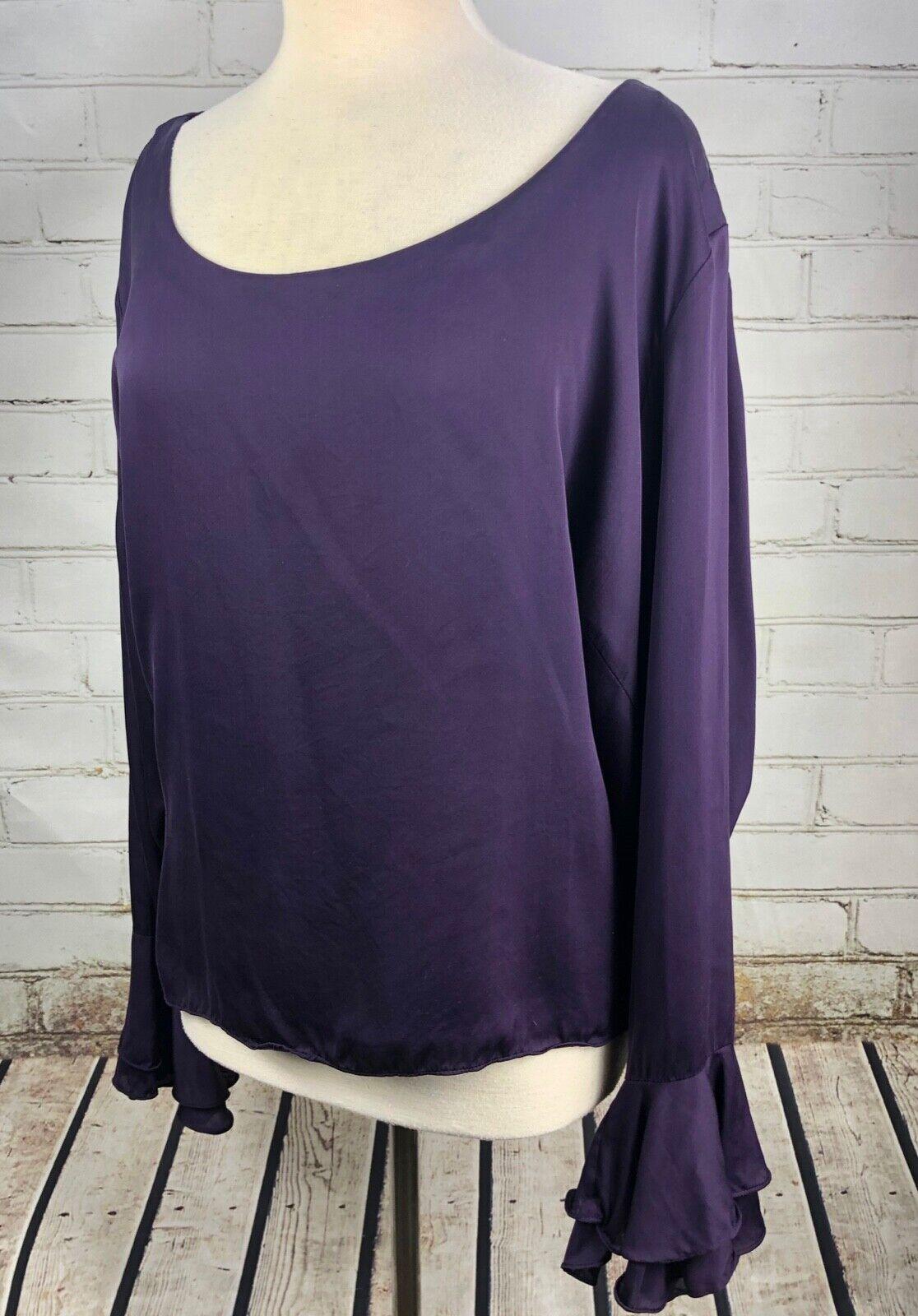 Ralph Lauren Blouse 100% Silk Ruffle Cuffs Top Shirt Woherren Plus Größe 22W