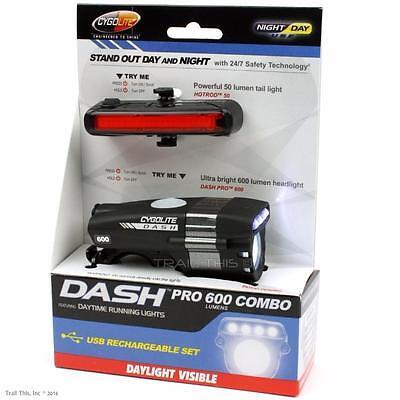 Cygolite Dash Pro 600 HotRod 50 Combo USB Rechargeable Front Rear Bike Lights
