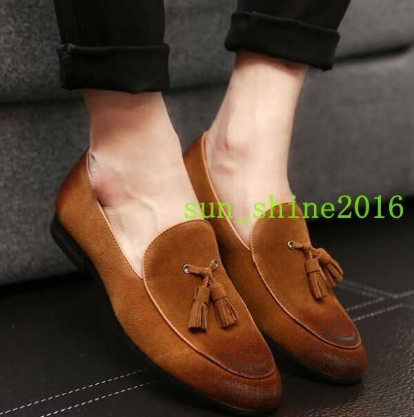 Men's Casual SLip On Faux Suede Pointed Toe Tassel Loafers Mules Driving SHoes