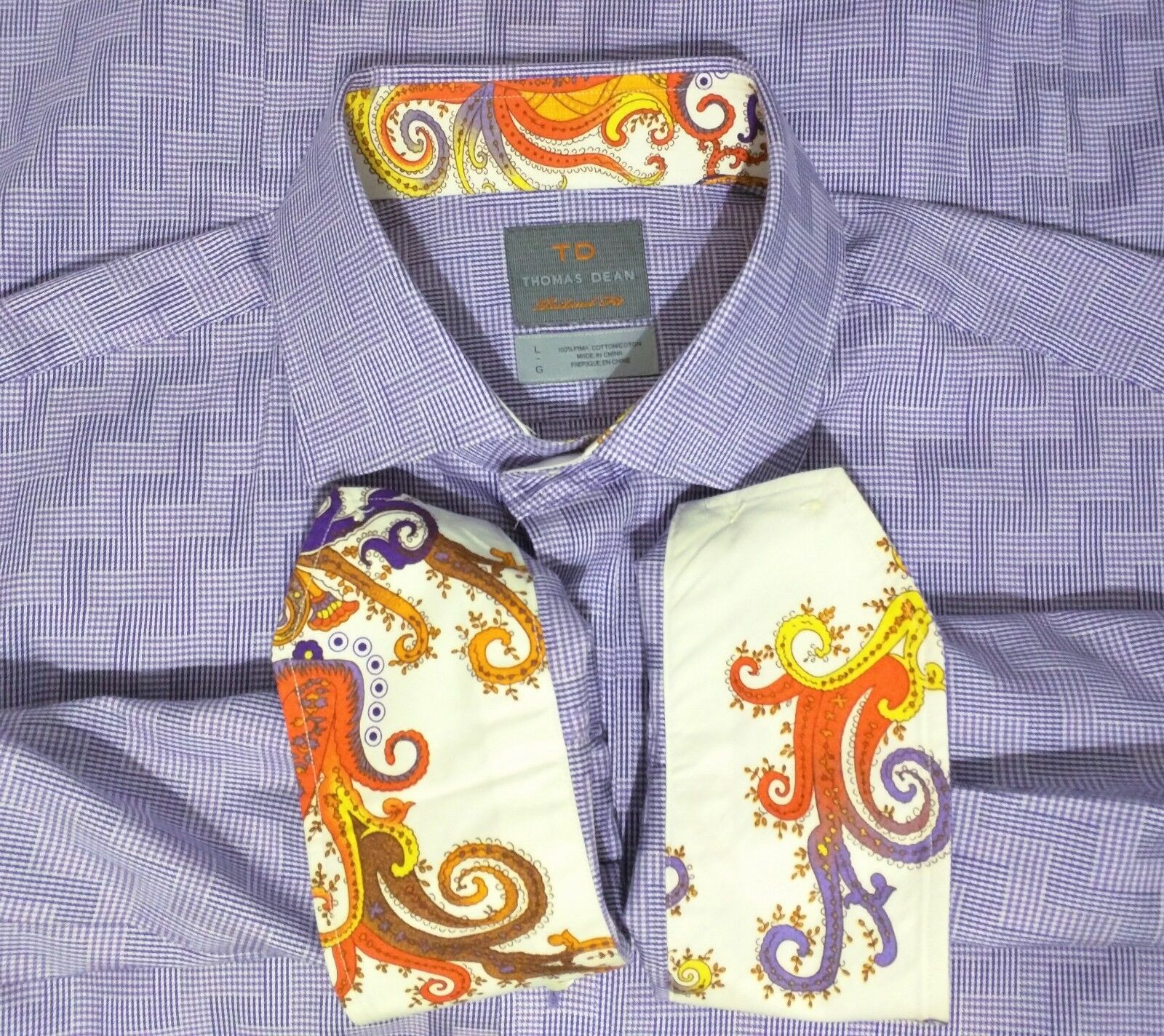 a777469683 Thomas Dean Two Purple Houndstooth Zag LS Mens Large Zig Tone ...