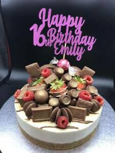 Awe Inspiring Custom Cake Topper Happy 16Th Birthday Hot Pink Glitter Any Words Personalised Birthday Cards Veneteletsinfo