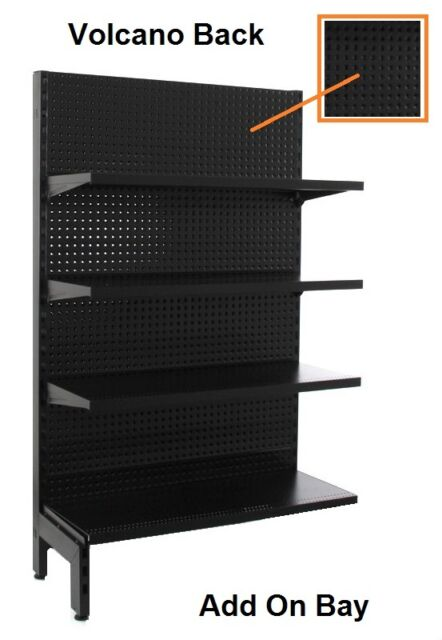 Black Gondola Shelving Single Sided Add On Bay 1800 H x 900 W 4 shelves per side