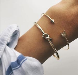 2Pcs//Set Femme Fashion Mignon Or Flèche Knot Bracelet ouvert réglable bracelets