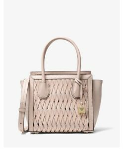 248f14e938e5 Image is loading Michael-Kors-Mercer-Studio-Woven-Leather-Crossbody-Satchel-