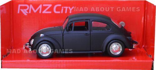 VW VOLKSWAGEN BEETLE Matt Black 12 cm Opening Doors Pull Back and Go Diecast