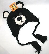 BEAR BABY INFANT TODDLER KNIT HAT or CAP - ANIMAL BEANIE, TASSELS