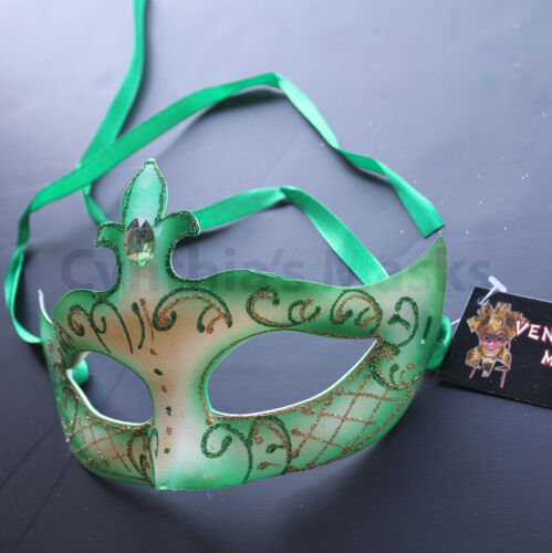 Green Venetian Masquerade Mask Party Prom Wedding Halloween Costume Mardi Gras