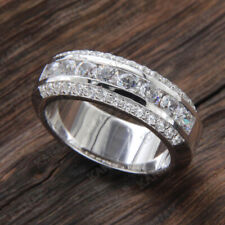 1//5 Ct Sim Diamond 14K White Gold Finish Eternity Engagement Wedding Band Ring