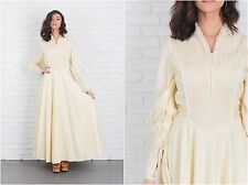 Vintage 70s Cream Hippie Boho Dress Full Lace Puff Slv Wedding Small S
