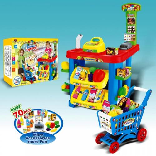 Giocattolo Elettronico Supermercato Carrello Spesa Shop Till Cibo Role Play Set