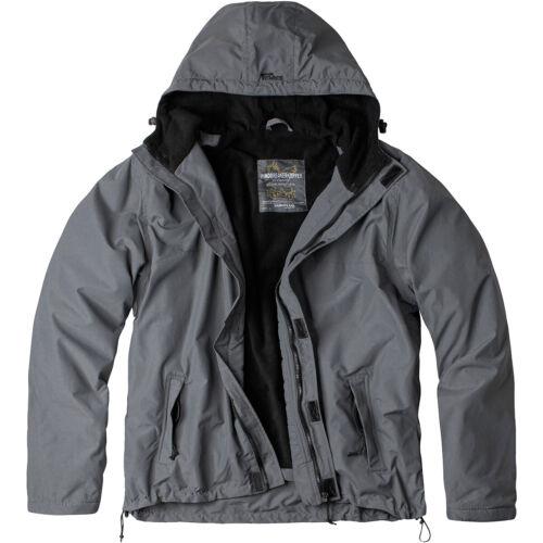 Surplus Windbreaker Jacket Zipper Water Repellent Hood Mens Outdoor Anorak Grey