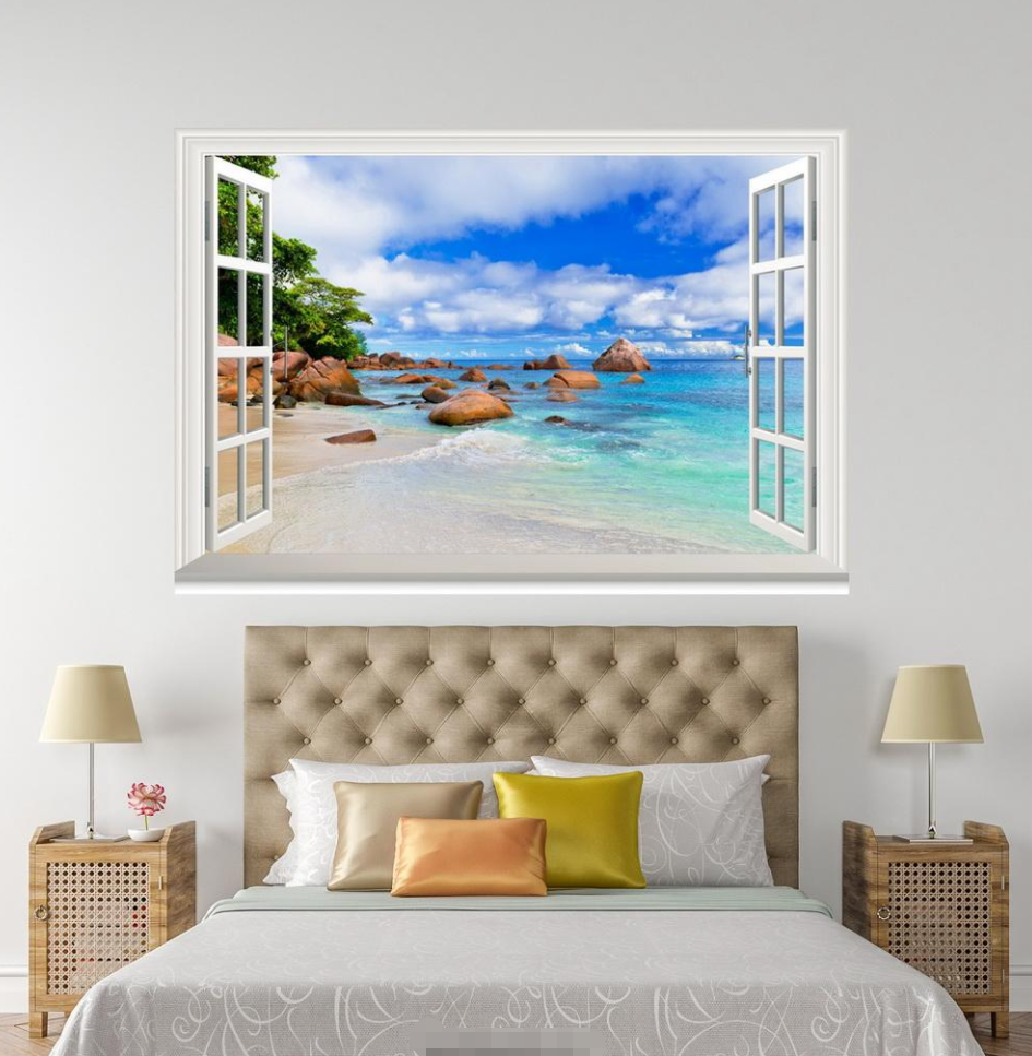 3D Waves Ocean 43 Open Windows WallPaper Murals Wall Print Decal Deco AJ Summer