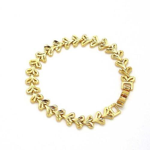 """18K or jaune rempli Bracelet Hommes//Femmes Unique Chaîne 7.9/"""" Lien Charme GF Bijoux"""