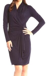 Karen Kane 3n94678 Navy Blue Stretch Jersey Studded
