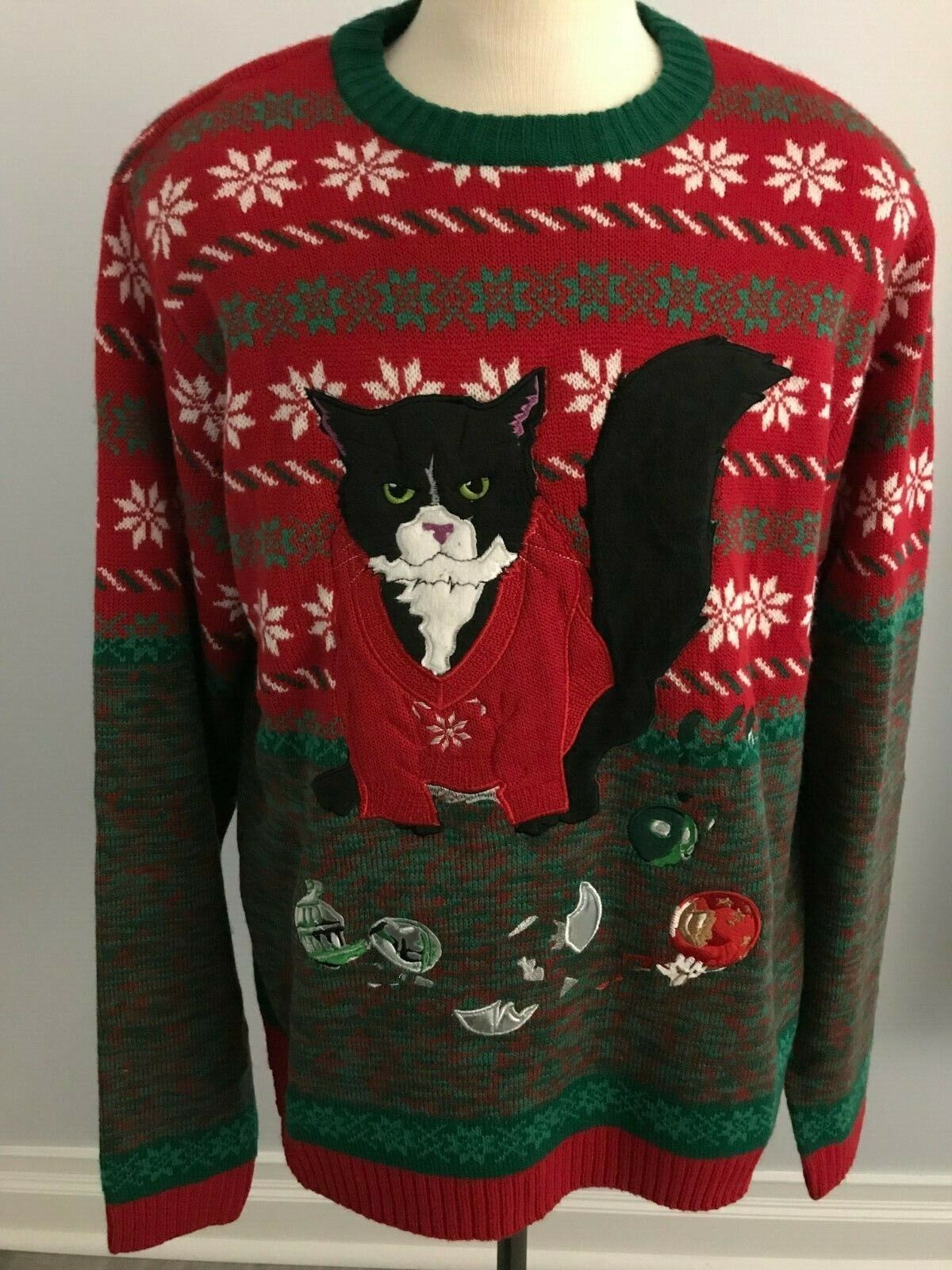 Cat w  Broken Ornaments Christmas Sweater - SZ  2XL - Green   Red   White