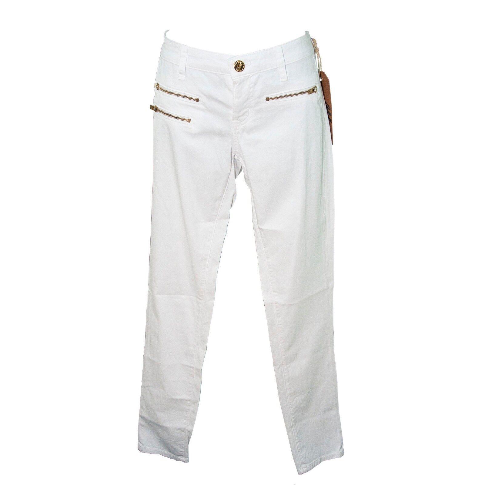 ABS Allen B Schwartz White Zipper Front Luxury Collection Denim Jeans 28 NWT