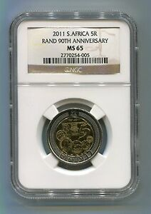 South-Africa-2011-R5-Reserve-Bank-90-Years-Commemorative-Coin-NGC-Graded-MS-65