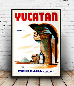 Yucatan-Mexicana-Vintage-Airline-advert-poster-Reproduction-poster-Wall-art