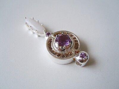 Fast Deliver Großer 925 Silber Anhänger Farbsteine Violett,weiss 11,8 G/ 4,9 X 1,9 Cm Precious Metal Without Stones