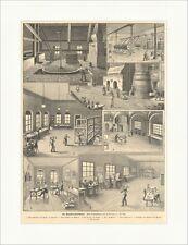 Die Majolika Fabrikation Nemmert Töpfern Handwerk Brennofen Holzstich E 15505