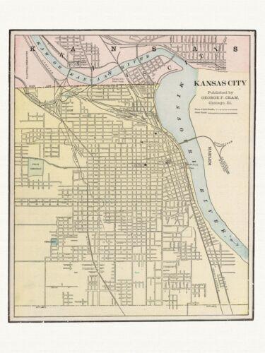 1901 Old Vintage Decorative Map of Kansas City Cram ca