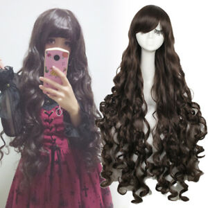 Lolita Women Lady Long Dark Brown Curly Wavy Hair Anime Cosplay Wig