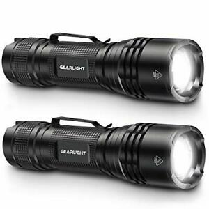 LED Tactical Flashlights, Bright, Zoomable, Handheld Flashlight, Pack of 2