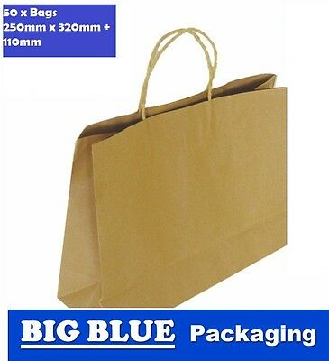 50 x Brown Kraft Paper Bags for Shopping Carry twist Handle 320mmWx110mmX250mm