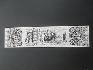 Vintage BOOKMARK BW Black White Drawing Card Castle Yorkshire Colin Williamson