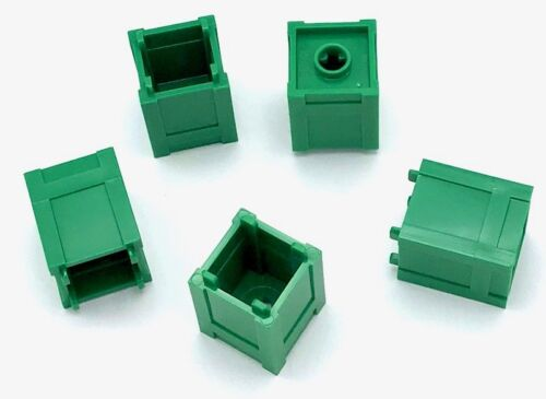 Lego 5 New Green Container Box 2 x 2 x 2 Top Opening Trash Can Pieces