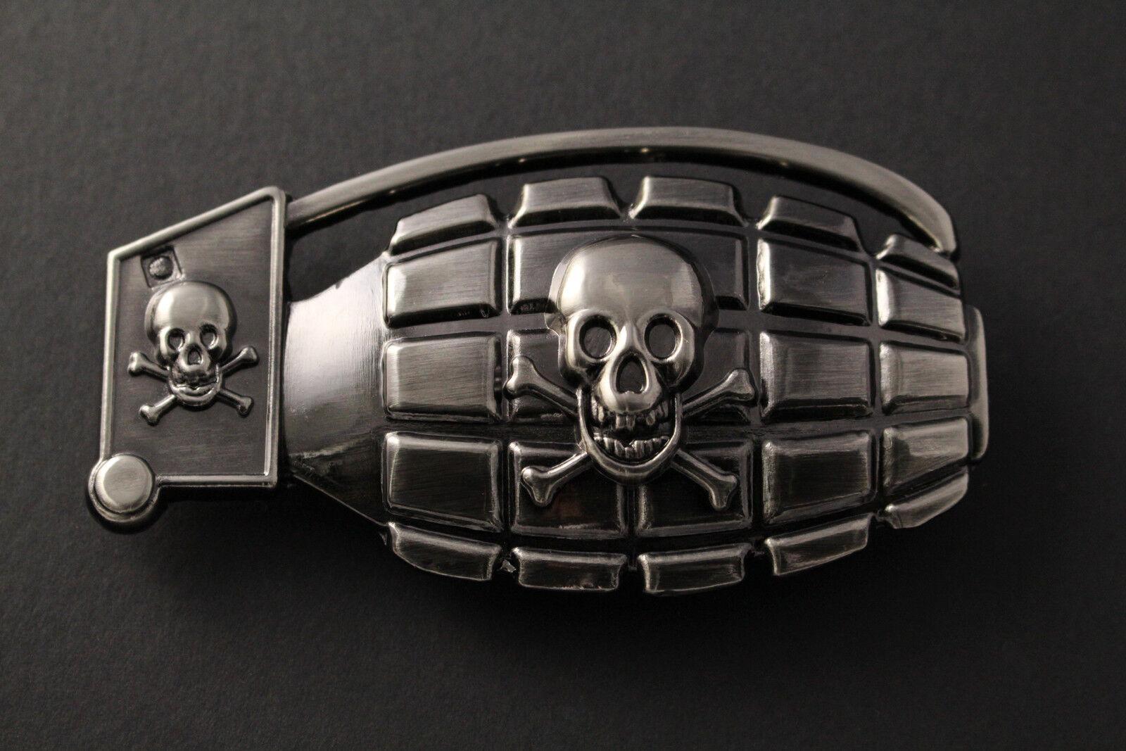 LARGE GUN METAL GRENADE WITH SKULL & CROSSED BONES BELT BUCKLE METAL