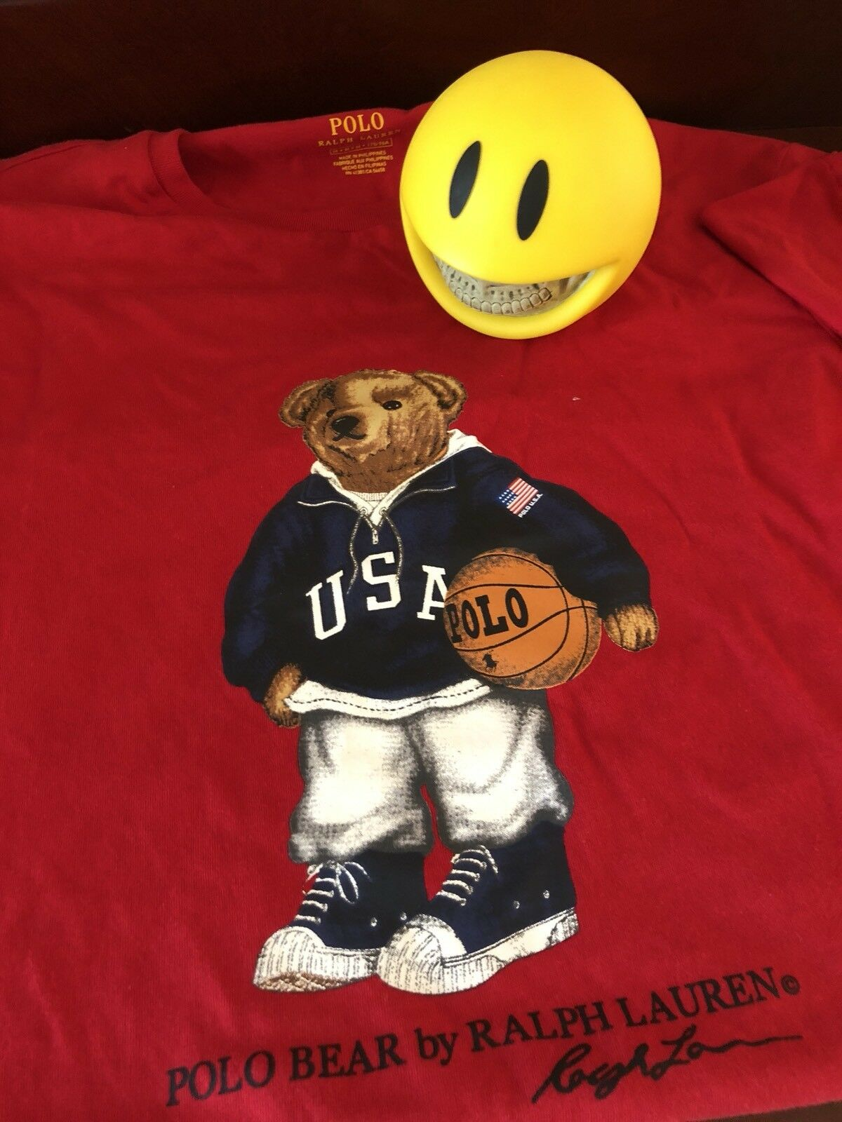 POLO RALPH LAUREN LIMITED EDITION RED BASKETBALL TEDDY BEAR TEE SIZE M NWT POLO