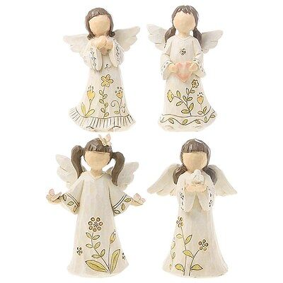 Single Ceramic Statue / Figurine / Ornament of Flower Girl with Angel Wings Gift