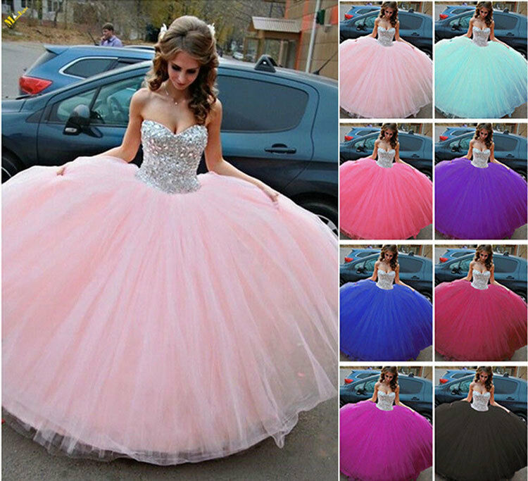 Hot Rhinestone Sweetheart Quinceanera Dresses Wedding Prom Formal Formal Formal Ball Gowns New 1667b4