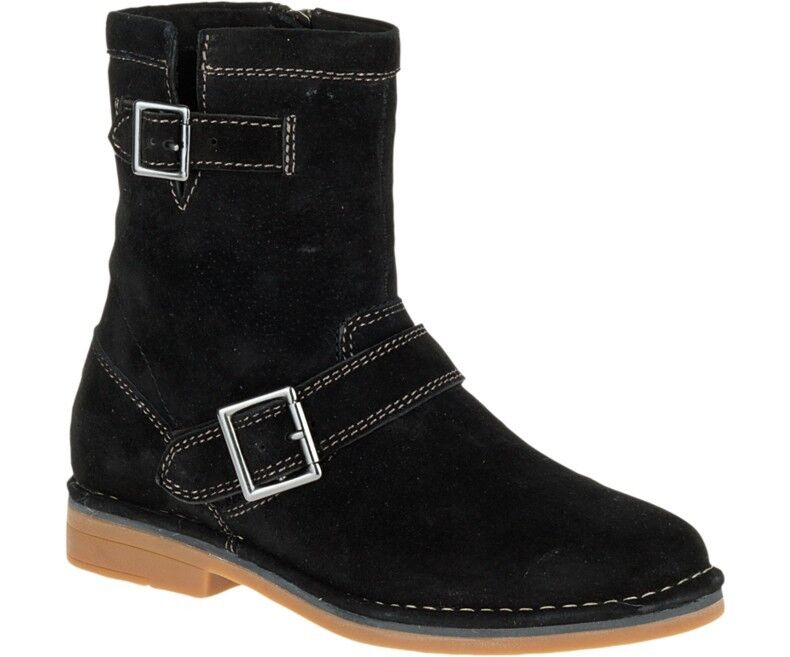 NEW WOMEN HUSH PUPPIES AYDIN CATELYN BUCKLE BLACK LEATHER SUEDE MEDIUM WIDE BOOT