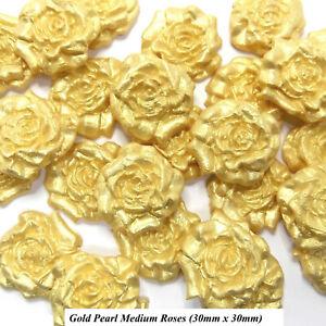 12 Gold Pearl Sugar Roses edible golden wedding cake ...
