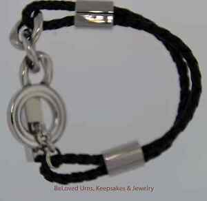 Details About Black Braid And Chain Bracelet Urn Cremation Jewelry With Funnel Ashes