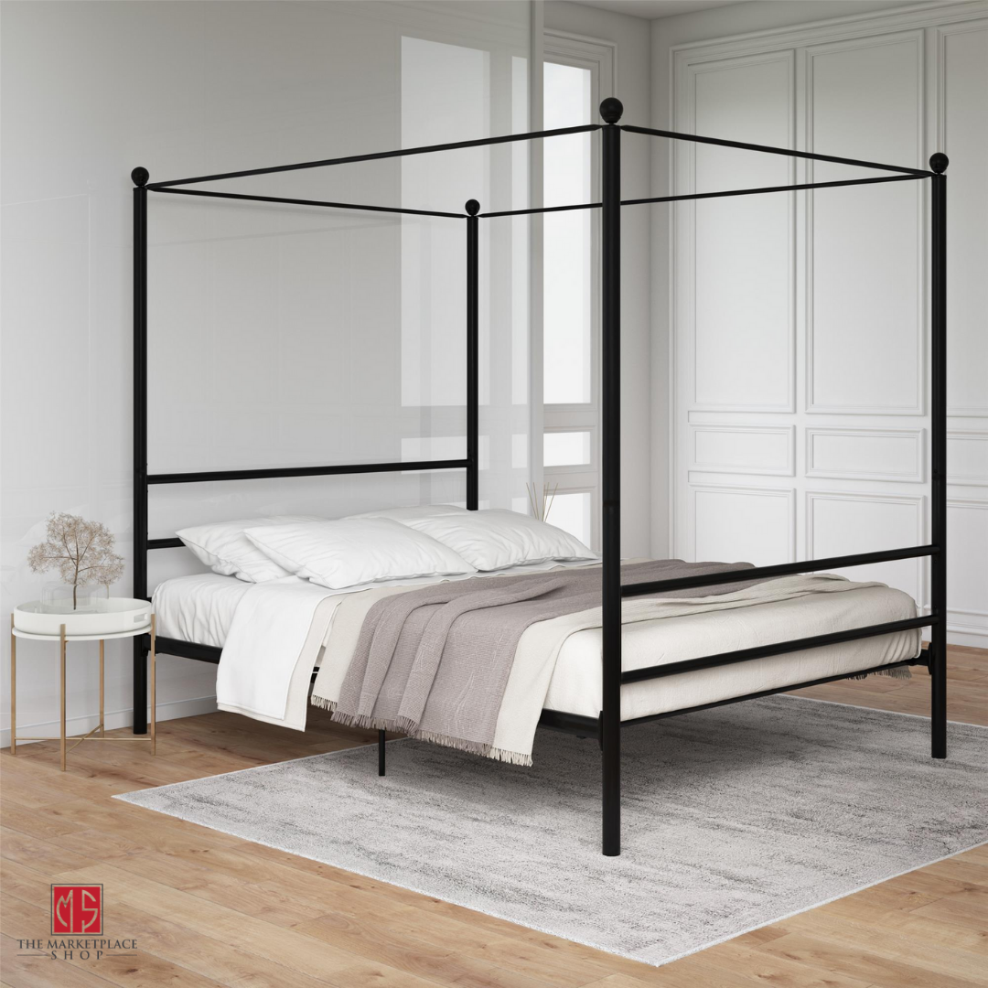 Full Size Canopy Bed Frame Black Metal Finish Slat Base Modern Bedroom Furniture For Sale Online Ebay