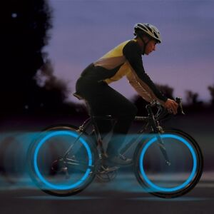 2-X-BLU-BICI-BICICLETTA-CICLISMO-RUOTA-ha-parlato-di-filo-pneumatico-LUMINOSO-FLASH-LED-LUCE-LAMPADA