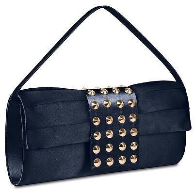 CASPAR Damen Clutch Abend Tasche Umhänge Tasche Satin mit stylische Nieten