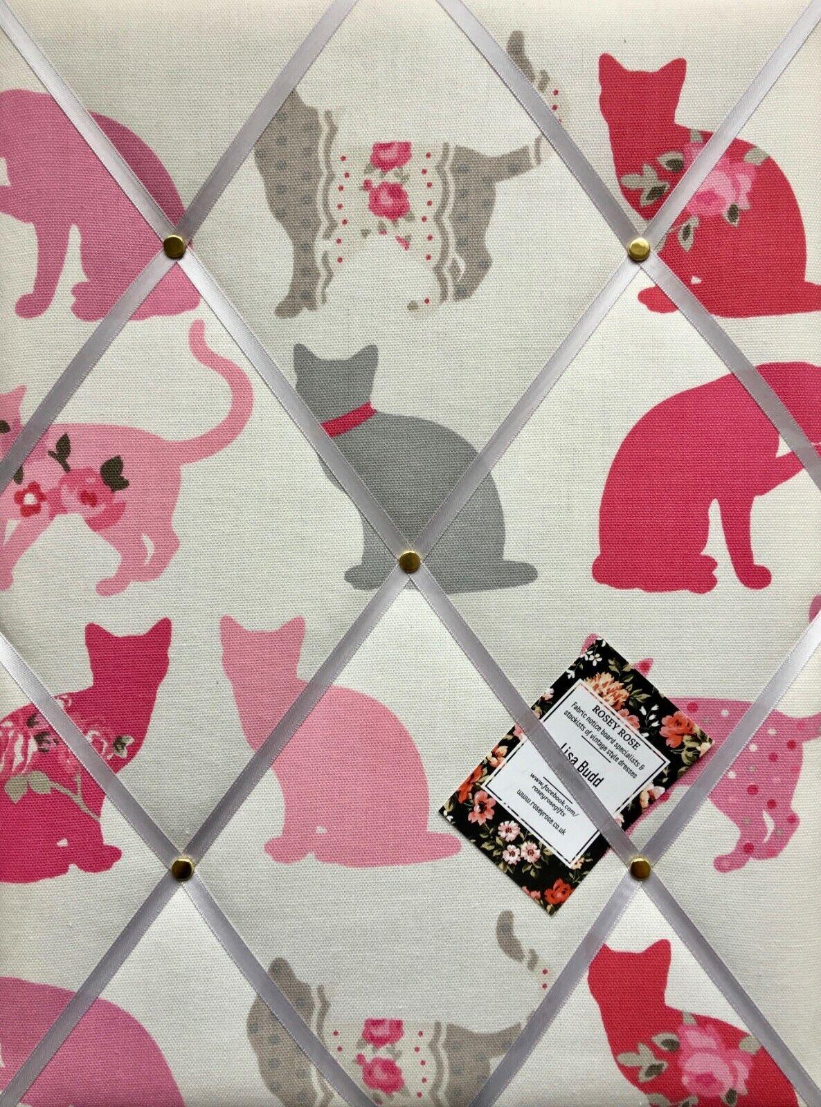 Clarke Clarke Felix Cat Raspberry Handcrafted Fabric Notice Memo Pin Photo Board
