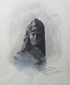 Watercolour-Signed-and-Authenticated-Dr-Ravary-Marianne-Jeanne-of-Arc-Sculpture