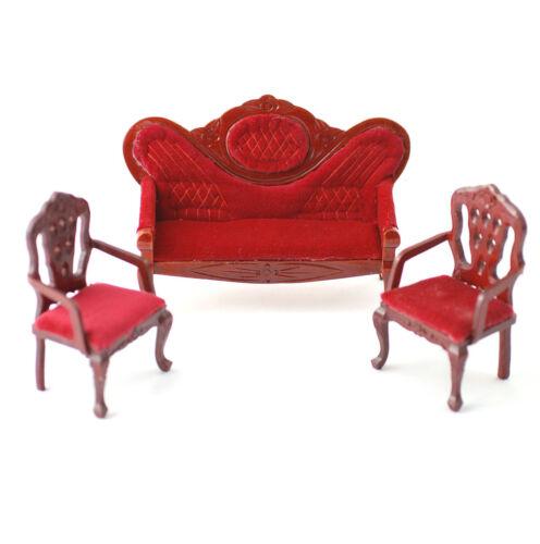 1.12 Escala Miniatura Suite Dollhouse Sofá Y Dos Silla conjunto Terciopelo Rojo efecto