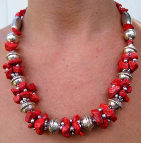 Moroccan Necklace Berber Coral Arabic Handmade Stones  Authentic Hand of Hamza