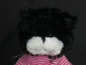 BLACK-WHITE-KITTY-CATS-PINK-STRIPES-JOGGING-SUIT-EXERCISE-PLUSH-STUFFED-ANIMAL