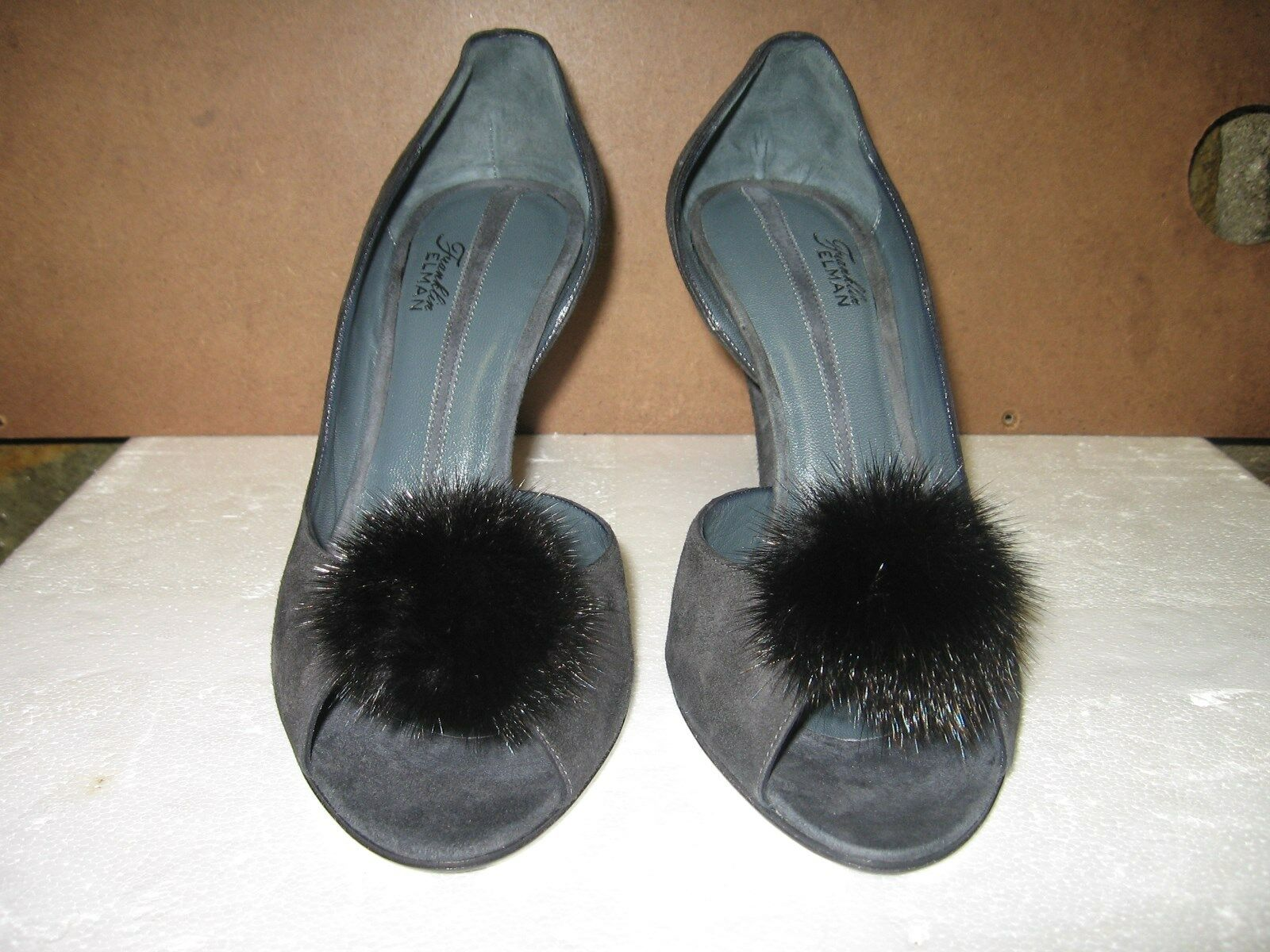 Franklin Elman Dark Grey Suede Open Toe Heel 37.5