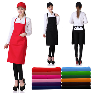 Men Wome Plain Apron with Front Pocket For Chefs Butchers Kitchen Cooking Baking